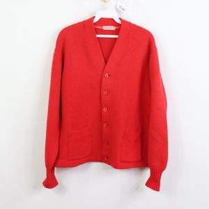 60s Mens 44 Long Acrylic Cardigan Sweater Red